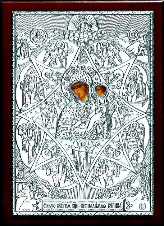 Серебряная кона Богородицы «Неопалимая Купина» (15*21см., «Галерея благолепия», Россия) в дорожном футляре