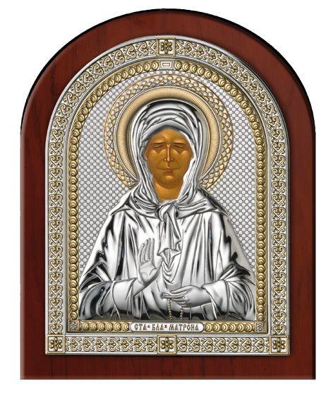 Серебряная икона Святая Матрона в рамке (Valenti & Co, Италия)