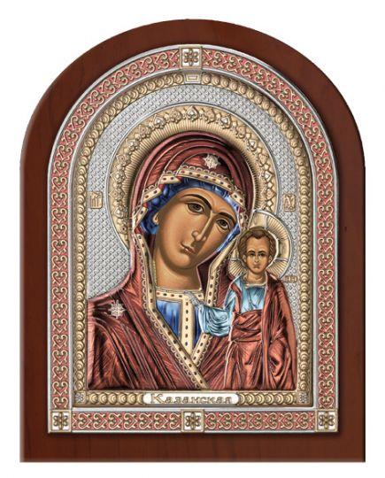 Серебряная икона Божия Матерь Казанская в эксклюзивной рамке (Valenti & Co, Италия)