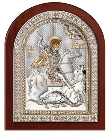 Серебряная икона Святой Георгий Победоносец (Valenti & Co, Италия, эксклюзивная рамка)