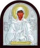 Икона Святой Блаженной Ксении Петербургской (7*8.5) в серебре с золочением купить