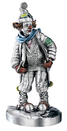 Серебряная коллекционная фигурка клоуна-лыжника (Valenti & Co, Италия)