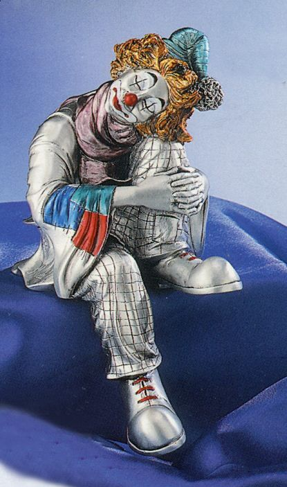 Серебряная коллекционная фигурка спящего клоуна, высота 19 см. (Valenti & Co, Италия)