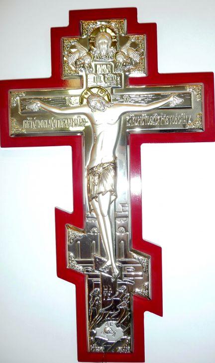 Серебряный с золочением православный крест - распятие (21*34см., «Галерея благолепия», Россия) в дорожном футляре
