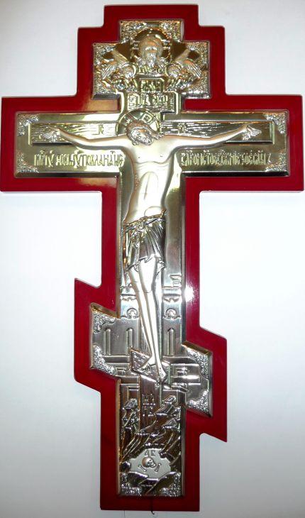 Серебряный православный крест - распятие (21*34см., «Галерея благолепия», Россия) в дорожном футляре