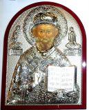 Серебряная икона святителя Николая Чудотворца (Угодника) (12*16см., «Галерея благолепия», Россия) в дорожном футляре