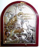 Серебряная с золочением икона Святого Георгия Победоносца (9*11см., «Галерея благолепия», Россия) в дорожном футляре