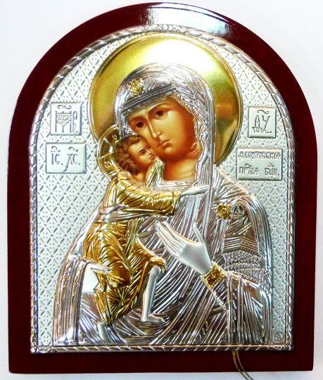 Серебряная с золочением икона Богородицы «Федоровской» (9*11см., «Галерея благолепия», Россия) в дорожном футляре