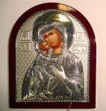 Серебряная икона Богородицы «Федоровской» (9*11см., «Галерея благолепия», Россия) в дорожном футляре