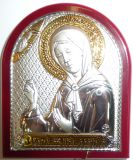 Серебряная с золочением икона Святой Блаженной Матроны Московской (7*8.5см., «Галерея благолепия», Россия) в дорожном футляре