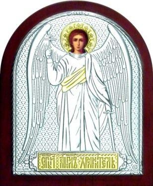 Серебряная с золочением икона Ангела Хранителя (9*11см., «Галерея благолепия», Россия) в дорожном футляре