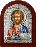 Серебряная икона Иисус Христос Спаситель (Valenti&Co, Италия,цветной лак, повышенное качество!)