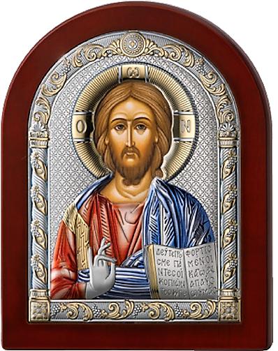 Серебряная икона Иисус Христос Спаситель (Valenti&Co, Италия, цветной лак, повышенное качество!)