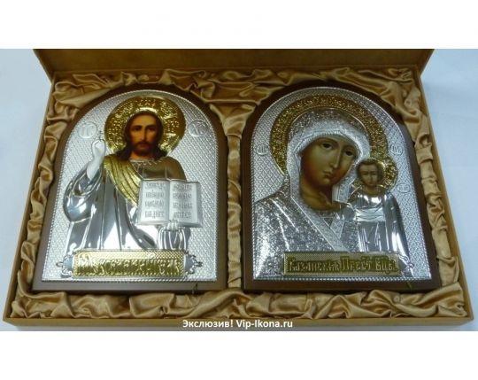 Подарочный набор (венчальная пара) Христа и Божьей Матери (19*25см., коричневое дерево, «Галерея благолепия», Россия) в VIP-упаковке