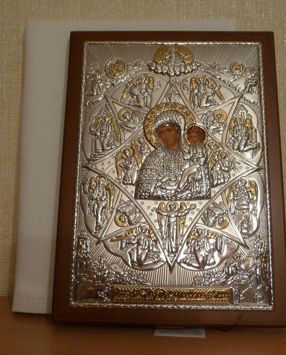 Серебряная с золочением кона Богородицы «Неопалимая Купина» (15*21см., Россия) в дорожном футляре