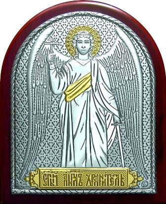 Серебряная с золочением икона Ангела Хранителя (7*8,5см., Россия) в дорожном футляре