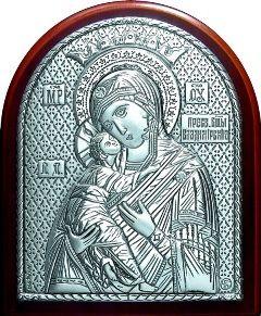 Серебряная икона Богородица «Владимирская» (7*8.5см., Россия) в дорожном футляре