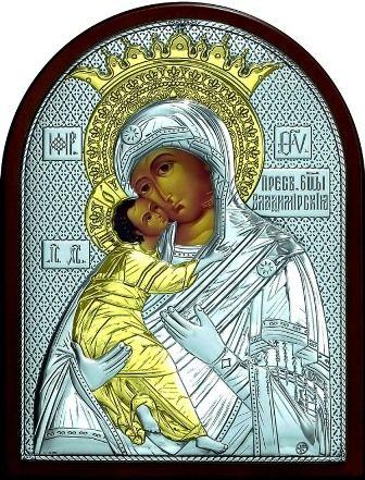 Серебряная с золочением икона Богородица «Владимирская» (19*25см., Россия) в дорожном футляре