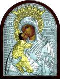 Икона Богородица «Владимирская» (19*25) в серебре и золоте