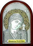 Икона Богородица «Казанская» (14.5*20) в серебре с золочением со вставками с гранатами