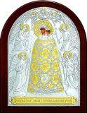 Серебряная с золочением икона Богородицы «Прибавление ума» (12*16см.) в дорожном футляре галерея благолепия