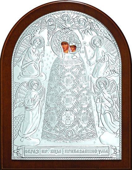 Серебряная икона Богородицы «Прибавление ума» (12*16см., Россия) в дорожном футляре