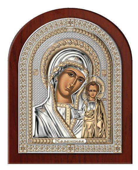 Серебряная икона Богоматери Казанской (Valenti & Co, Италия, эксклюзивная рамка)