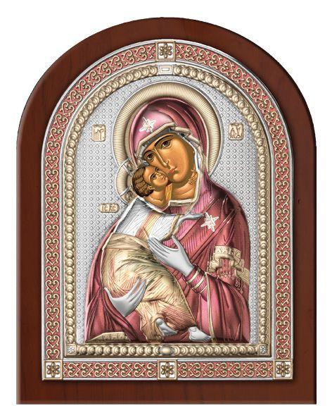 Серебряная икона Божией Матери Владимирской (Италия, эксклюзивная рамка)