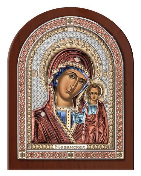 Серебряная икона Божия Матерь Казанская в эксклюзивной рамке (Италия)