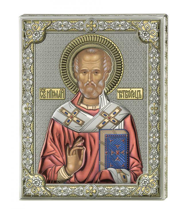 Серебряная икона Святой Николай (листовое серебро, цветной лак, Valenti & Co, Италия)