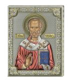 Серебряная икона Святой Николай (листовое серебро, Valenti & Co, Италия) цветная икона купить