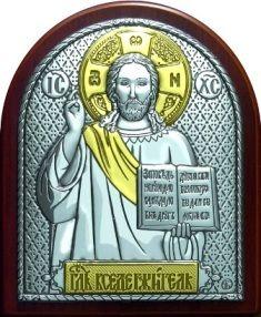 Серебряная с золочением икона Иисуса Христа Спасителя (7*8.5см., Россия) в дорожном футляре