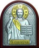 Икона Иисуса Христа Спасителя (7*8.5) в серебре с золочением купить