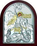 Икону Святого Георгия Победоносца (9*11) в серебре с золочением купить