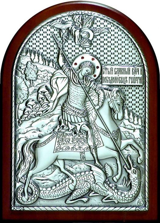 Инкрустированная гранатами серебряная икона Святого Георгия Победоносца (14.5*20см., Россия) в подарочной коробке