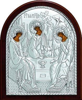Серебряная икона Святой Троицы (9*11см., Россия) в дорожном футляре