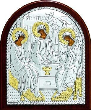 Серебряная с золочением икона Святой Троицы (9*11см., Россия) в дорожном футляре