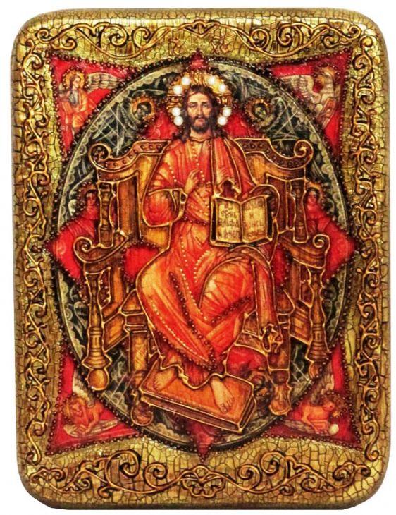 Инкрустированная подарочная икона Спас в Силах (15*20см., Н. Новгород) на натуральном мореном дубе в подарочной коробке
