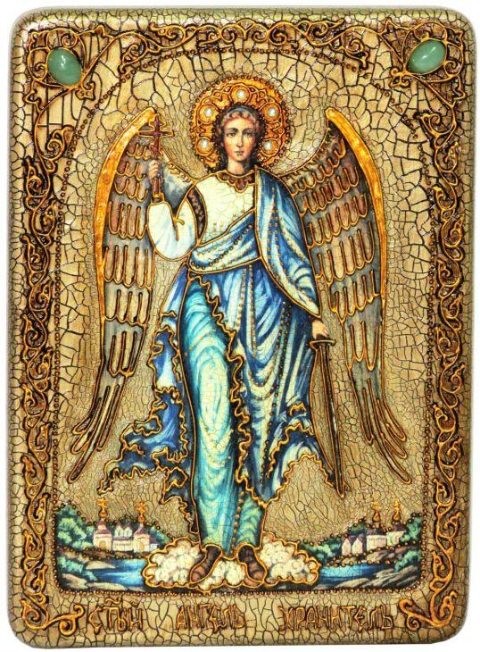 Инкрустированная подарочная икона Ангел Хранитель (21*29см., Н. Новгород) на натуральном мореном дубе в подарочной коробке