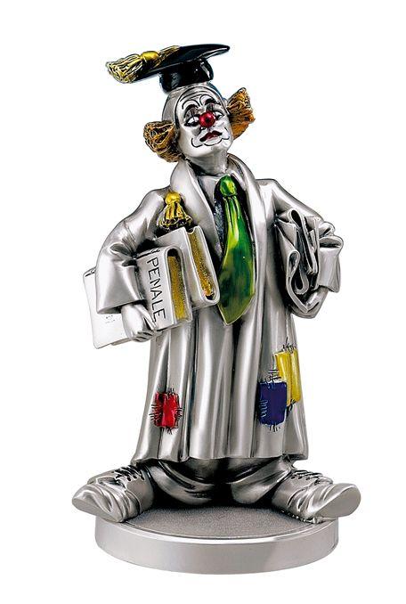 Серебряная коллекционная фигурка клоуна-адвоката (Италия)