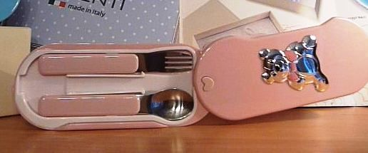 Первые серебряные ложечка и вилочка малыша (для мальчика или девочки) (Италия)