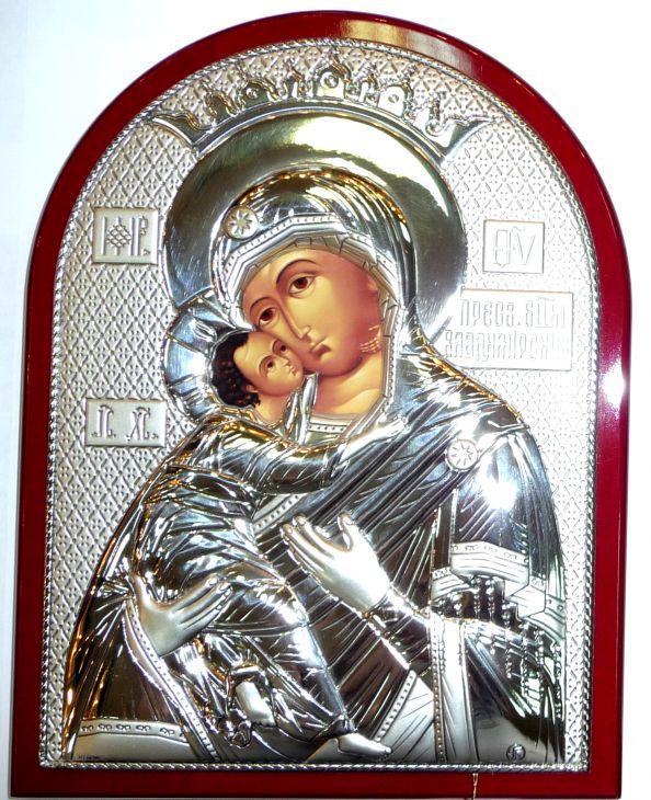 Серебряная икона Богородица «Владимирская» (12*16см., Россия) в дорожном футляре