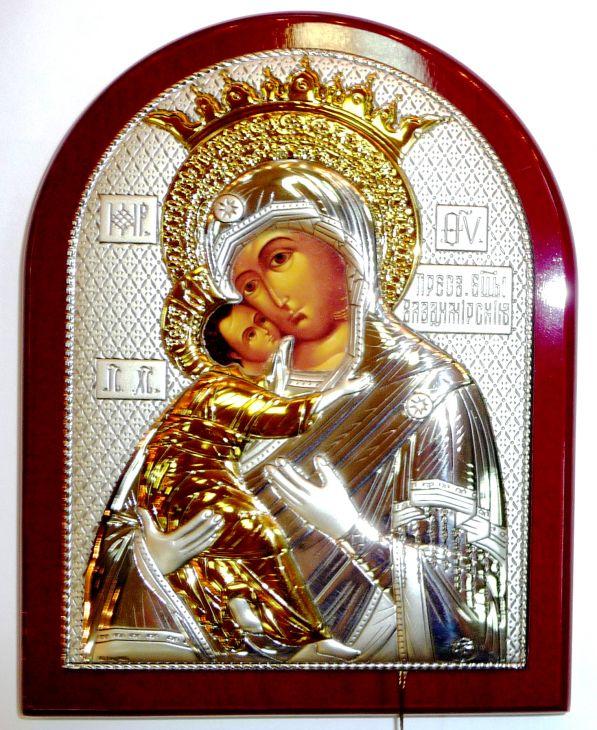Серебряная с золочением икона Богородица «Владимирская» (12*16см., Россия) в дорожном футляре