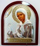 Серебряная с золочением икона Святой Блаженной Матроны Московской (9*11см., «Галерея благолепия», Россия) в дорожном футляре
