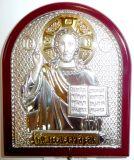 Серебряная с золочением икона Иисуса Христа Спасителя (7*8.5см., «Галерея благолепия», Россия) в дорожном футляре