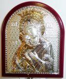 Серебряная с золочением икона Богородица «Владимирская» (7*8.5см., «Галерея благолепия», Россия) в дорожном футляре