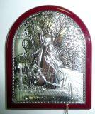Детская серебряная икона Ангела Хранителя (7*8,5см., «Галерея благолепия», Россия) в дорожном футляре