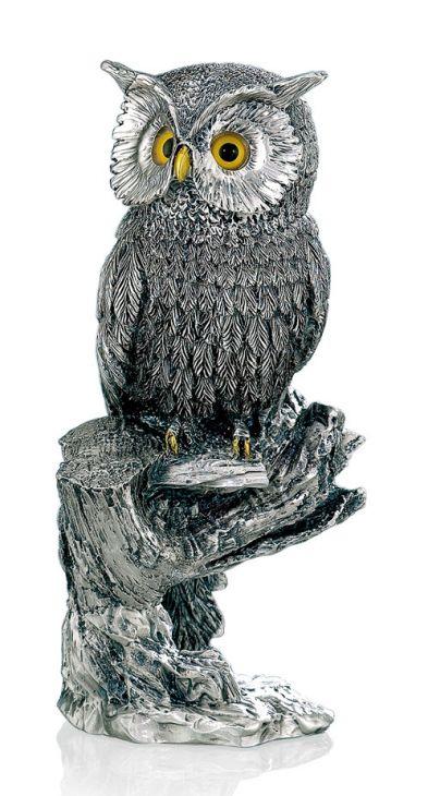 Серебряная статуэтка ученого филина на ветке (Италия, 19см.)
