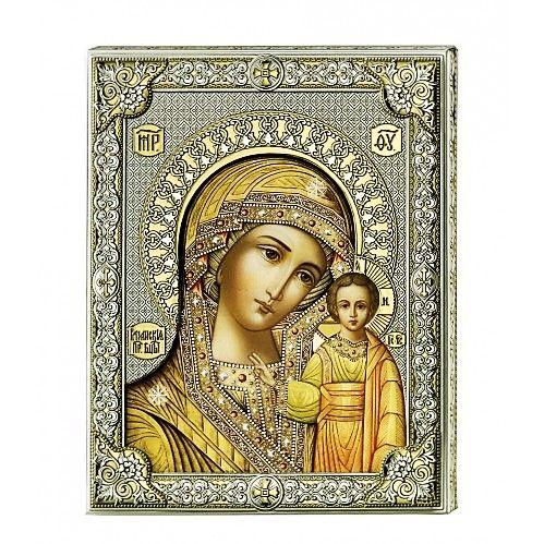 Серебряная икона Божьей Матери Казанской (листовое серебро, Valenti & Co, Италия)