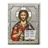 Серебряная икона Иисуса Христа Спасителя (листовое серебро, 20*26 см., Valenti & Co, Италия)